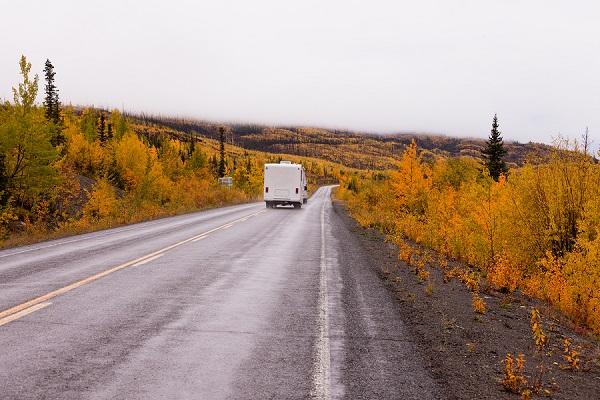 Campervan Driving Autumn Fall Highway Yukon Canada