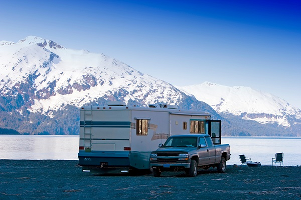 Motor home by the Alaskan mountains